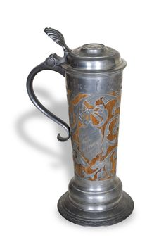 Wooden stein with silver filigree