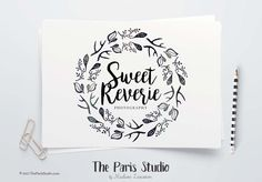 Instant Download Logo Watercolor Hand Drawn Wreath Logo - photography branding, boutique logo, restaurant logo, creative business branding or small business logo.