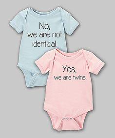 Blue & Pink 'Not Identical' & 'Twins' Bodysuit Set - Infant