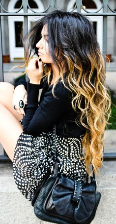 You can still wear Ombre hair with black clothing!--my hair looks like this now unintentional & I hate it!! I don't think the dark & blonde goes well.