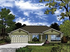 Ranch Home Plan with 1751 Square Feet and 3 Bedrooms from Dream Home Source | House Plan Code DHSW077398