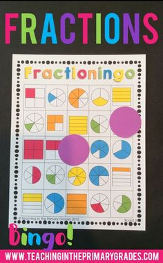 Identifying Fractions Bingo- My students love playing bingo games to learn beginning math concepts. I used this bingo game to introduce fractions to my students. As I called out a fraction, the students find and cover the fractions on their game boards. Second Grade Writing, Teaching Second Grade, 2nd Grade Math, First Grade Activities, Kindergarten Activities, Fraction Activities, Preschool, Fraction Bingo, Math Fact Fluency