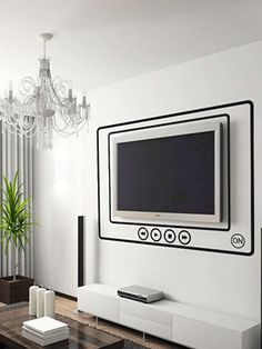 Black frames around tv created with wall stickers
