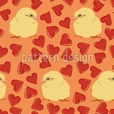 Chicks Among Hearts Pattern Design Vector Pattern, Pattern Design, Coloring Easter Eggs, Heart Patterns, Abstract Pattern, Your Design, Doodles, Hearts, Donut Tower