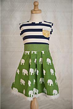 Elephants Sage Dress