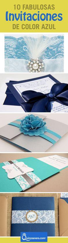 Encontramos 10 increíbles invitaciones de Quince de color azul para que elijas la que más te guste.