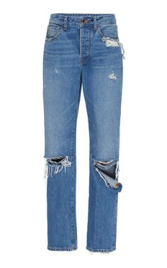 Brandon Maxwell Distressed High-rise Boyfriend Jeans In Blue High Rise Boyfriend Jeans, High Jeans, Wide Leg Jeans, Ripped Jeans, Denim Jeans, Skinny Jeans, Casual Jeans, Jeans Style, Old Navy Jeans