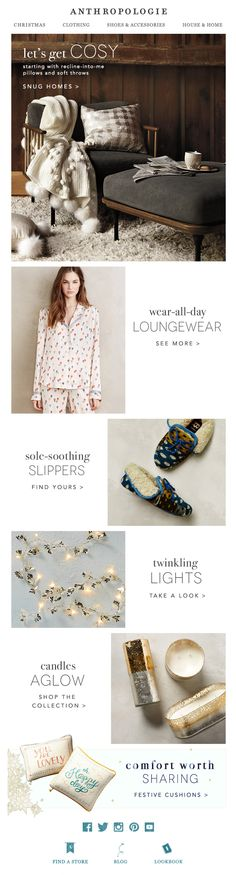 Anthropologie cosy email newsletter
