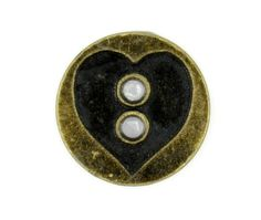 Antique Brass Heart Carving Metal Hole Buttons - 18 mm - 11/16 inch