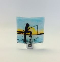 Fused Glass Night Light Going Fishing by CDChilds on Etsy