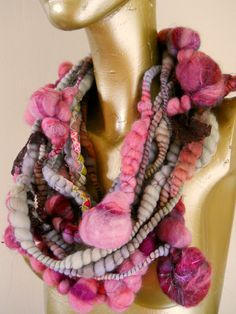 Purple Bobbles the Art Yarn or Eternity Scarf by designsbyamber, $55.00