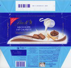 Milch-Hüppe  Milchschokolade mit Waffelstückchen in Nuss-Chocoladen-Crème 2013 Creme, Tableware, Chocolates, Milk, Milky Bar Chocolate, Waffles, Dinnerware, Tablewares, Dishes