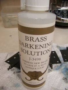 Brass darkening solution for hinges and hardware