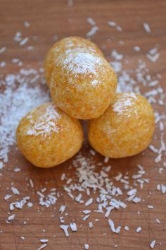 Coconut Apricot Bites  1/2 C dried apricots  1 C shredded unsweetened coconut  Tiny pinch of sea salt  1 tsp vanilla  1 tbsp coconut oil  2 tbsp raw honey