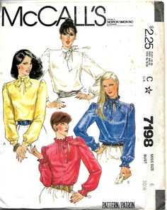McCall's 7198 Misses Blouses With Neck Tie, Sewing Pattern, 6, 8 & 16, UNCUT by DawnsDesignBoutique on Etsy