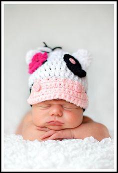 Crochet Little Girl Cow Hat Beanie