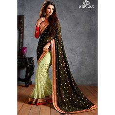 Designer Nirvana Black & Beige Embroidery Georgette Saree with Blouse at just Rs.1950/- on www.vendorvilla.com. Cash on Delivery, Easy Returns, Lowest Price.
