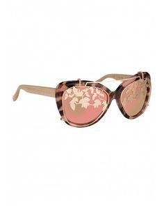 Matthew Williamson | Pink Salmon Tortoiseshell Mirrored Cat Eye Sunglasses…
