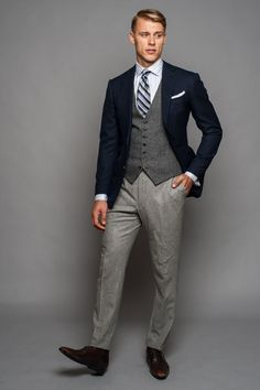 I love three piece suits, especially when they are broken three piece suits (suit has multiple colors). This is a great way to use colors. I love it. For more awesome suits follow my tumblr at EverybodyLovesSuits