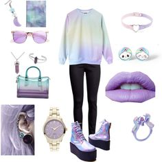Pastel goth by violenceinsilence on Polyvore featuring Mode, H&M, UNIF and Topshop