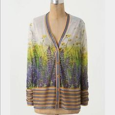 Anthropologie Dream Daily Floretum Cardigan S Multi-Color Floral 100% Polyester