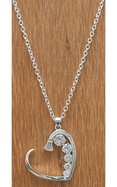 Montana Silversmiths® Silver Horseshoe Nail Heart with Crystals Necklace | Cavender's Boot City