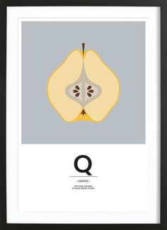 """The Food Alphabet"" - Q like Quince als Poster im Holzrahmen 