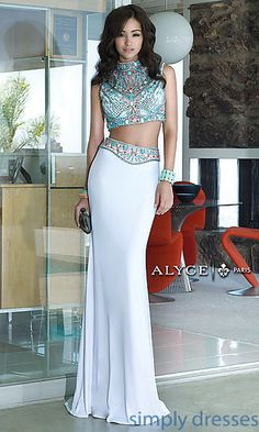 Long Two Piece High Neck Alyce Dress at SimplyDresses.com