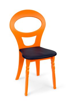 Steuart Padwick Ha Ha Chair in Crab Orange with navy leather seat