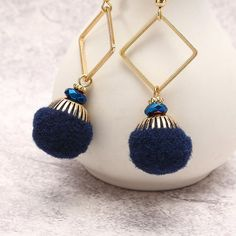 Bohemian Earrings Gold Plated Simple Rhombus Yarn Ball Pendant Ear Drop Boho Jewelry for Women at Banggood