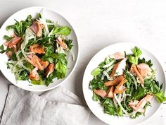 Salmon-Fennel Salad : After an easy brine in the fridge, this salmon is packed with flavor. Atop a simple salad of arugula, fennel and some herbs, it's the perfect complement.