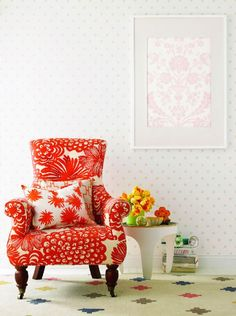 Pitch perfect mix of pattern and color, found via Decor8