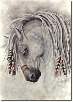 Majestic Mustang War Paint Feathered Horse -  8.5 x 11 Print by AmyLyn Bihrle. $20.00, via Etsy.