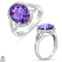 Ebay NissoniJewelry presents - Amethyst Fashion Ring with Diamond Accent in Sterling Silver    Model Number:FR8009A-SI77AM    http://www.ebay.com/itm/Amethyst-Fashion-Ring-with-Diamond-Accent-in-Sterling-Silver/221877919595
