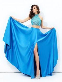 A-line/Princess High Neck Beading Sleeveless Court Train Satin Dresses