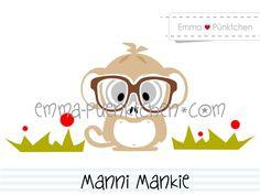 """∙ • Plotterdatei """"Manni Mankie"""" • ∙ von Emma & Pünktchen DIY auf DaWanda.com"""