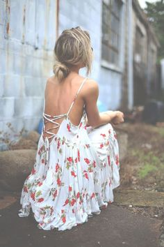 @roressclothes closet ideas #women fashion outfit #clothing style apparel Backless Dress with Flower Patterns