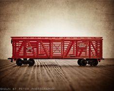 Toy Train Print, Red Livestock Car Photo Print size 8x10, Nursery Decor, Rustic DecorToy Trains, Baby room ideas, Boys Room Decor, via Etsy