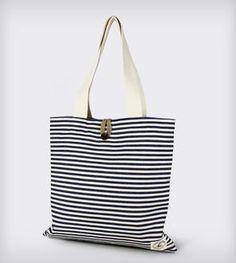 Reversible Burlap Tote Bag: Blue Twill Stripes & Natural Burlap