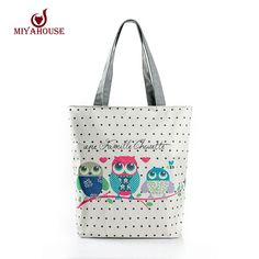 151c5362fb38 Cartoon Owl Print Casual Tote Lady Canvas Beach Bag Female Handbag Large  Capacity Daily Use Women Single Shoulder Shopping Bags-in Shoulder Bags  from ...