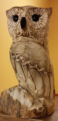 """Chainsaw carved owl-18""""-FREE SHIPPING!"""