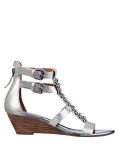 d76fafad375eec GUESS Aliano Metallic Wedge Sandals