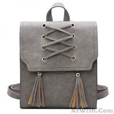 Retro Tassels Flap Square Weave Gray Leisure Girl's Cross Bandage Travel Backpack