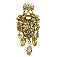 ☠ Swarovski Crystal Multi Skull and Crown Drop Brooch ☠