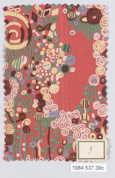 Textile sample ca. 1920 Gustav Klimt (Austrian 1862-1918) Metropolitan Museum of Art, NY