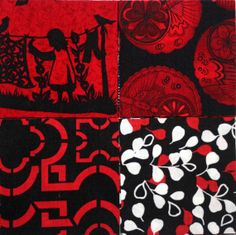 40 3 inch Fabric Quilting Squares  BLACK & RED  by RedNeedleQuilts, $6.80
