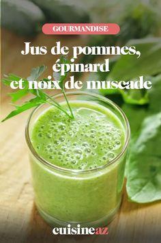 Il est facile et rapide de préparer un jus de pommes, épinard et noix de muscade à la maison. #recette#cuisine #jus #jusdefruit #jusdelegume #pomme #epinard Fruit Smoothies, Energy Smoothies, Healthy Green Smoothies, Weight Loss Smoothies, Detox Smoothies, Detox Drinks, Energy Drinks, Green Drink Recipes, Green Smoothie Recipes