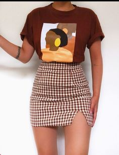 Teen Fashion Outfits, Retro Outfits, Girly Outfits, Cute Casual Outfits, Stylish Outfits, Vintage Outfits, Cute Skirt Outfits, Summer Skirt Outfits, Casual T Shirts