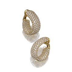Pair of yellow gold and diamond ear clips, Cartier   Sotheby's