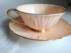 Precious Peach Oleander Shelley Teacup and by AprilsLuxuries